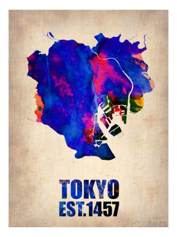 Tokyo Watercolor Map 1 Posters by NaxArt at AllPosters.com