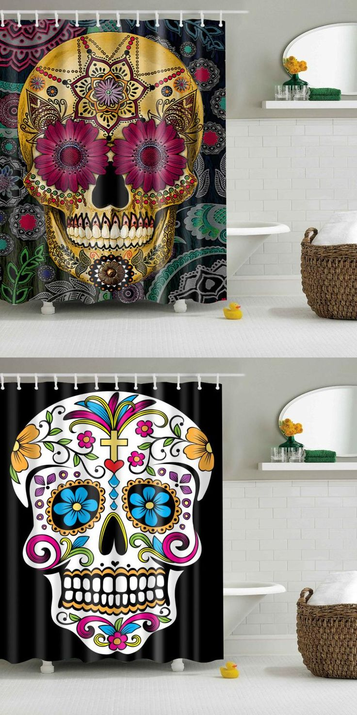 Christmas shower curtains on ebay -  Visit To Buy Punk Skull Shower Curtain Rideau Douche Rideau Douche En Tissu Vintage