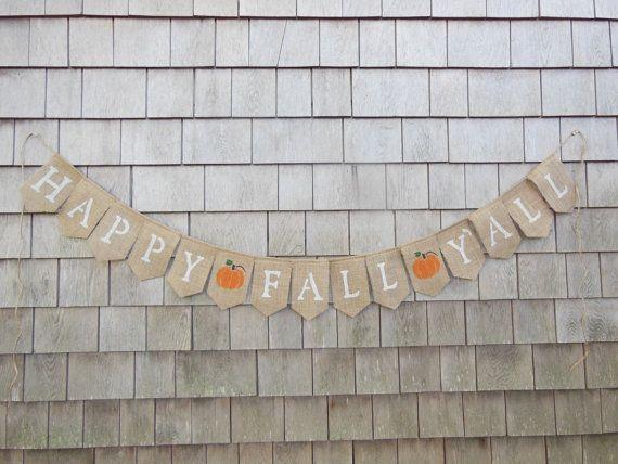 Happy Fall Y'all Burlap Banner Happy Fall by IchabodsImagination