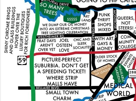 the houston neighborhood culture map by urbane funny s