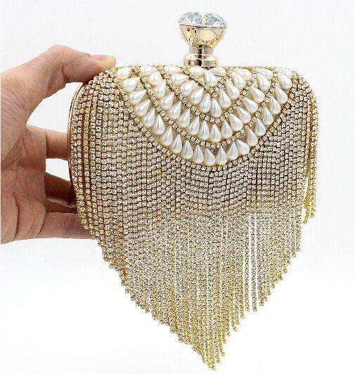 NEW Tassel Rhinestones Clutch Women Evening Bags Beaded Luxury Ladies Handbags Pearl Golden Vintage Evening Bag(China (Mainland))