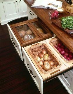 Aufbewahrung für Brot, Zwiebeln, Kartoffeln & Co.