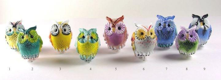 Lampwork Owls  A collaborative effort between Margaret Zinser and Kim Fields.