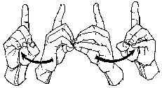 """The sign for """"divorce"""" is made by first forming the letter """"d"""" with both hands. Hold both hands together with the palms facing each other. With a twisting motion, move both hands outward and sideways so both palms face forward."""