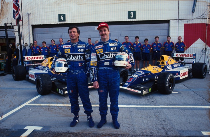 Riccardo Patrese and Nigel Mansell pose in front of their hugely successful Williams FW14B's