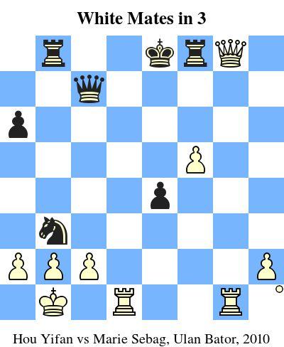White Mates in 3. Hou Yifan vs Marie Sebag, Ulan Bator, 2010 www.jouer-aux-echecs.com #echecs #chess #jeu #strategie