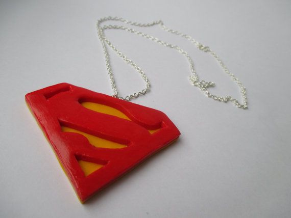 Superman Charm Necklace // Handmade // Fimo - Polymer Clay buy here: https://www.etsy.com/shop/heymate
