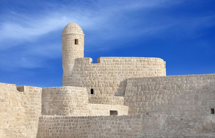 Qal'at al-Bahrain. The Qal'at al-Bahrain, also known as the Bahrain Fort and previously as the Portugal Fort is an archaeological site located in Bahrain, on the Arabian Peninsula. (V)