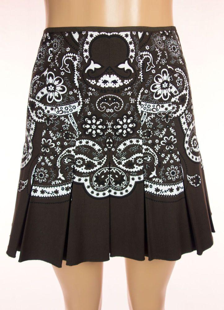 ELIE TAHARI Skirt Size 4 S Brown White Floral Paisley Cotton Pleated Mini #ElieTahari #Mini