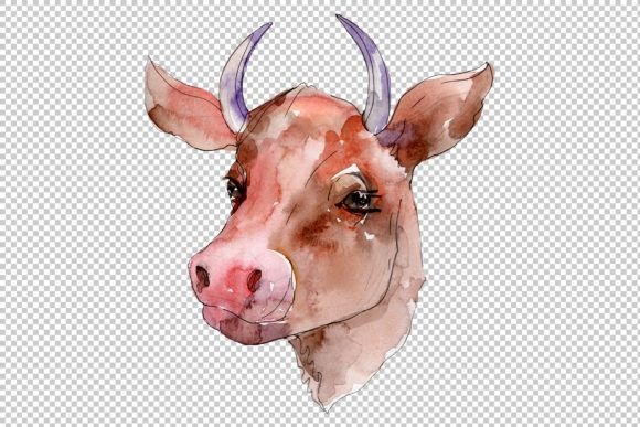 Farm Animals Cow Head Watercolor Png Graphic By Mystocks Creative Fabrica