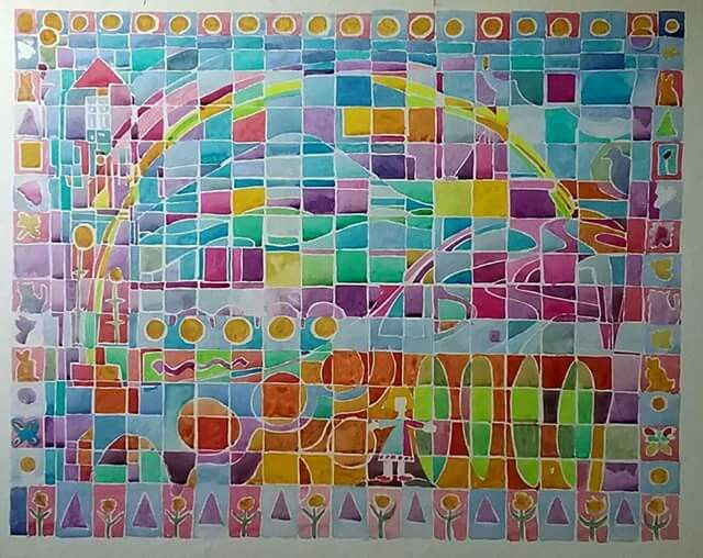 """Rainbow for Aurora"" watercolour on paper. 30x40cm"