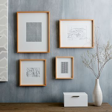 Thin Wood Gallery Frames - Bamboo #westelm set of 3 $109 13x16 star wars pictures 12 x16