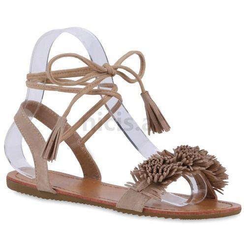 Schuhe Online Kaufen Günstig | Damen Sandalen Riemchen Sandalen - Crème