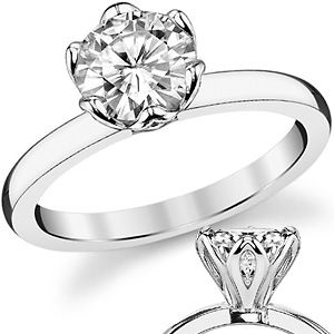 2mm Moissanite 6-Prong Tulip Solitaire Ring