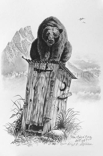 Western art pencil drawing a bear on top of an outhouse print