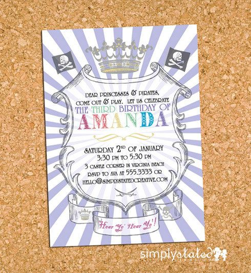 29 best Pirates and princess bday images – Princess and Pirate Birthday Invitations