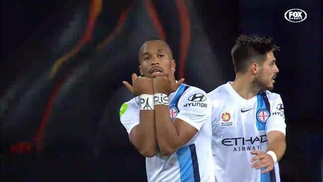 French-born former youth international, Harry Novillo, marks his goal with a tribute to Paris. The match ended in a 1-1 draw, with Brisbane Roar's John Aloisi calling Melbourne City's style of play as 'anti-football'. 21.11.15