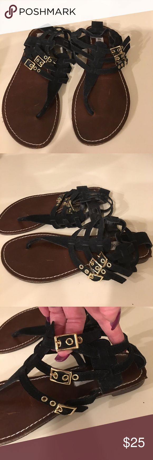 Steve Madden Gladiator Sandals Steve Madden black Leather Gladiator Sandals only worn once. EUC. Size 8 1/2 Steve Madden Shoes Flats & Loafers