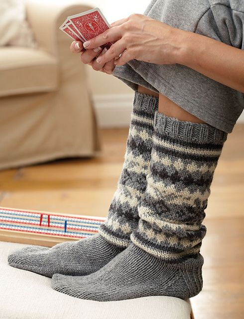 These cozy Patons Classic Wool socks are an excellent first fair isle project! (Patons Yarns)