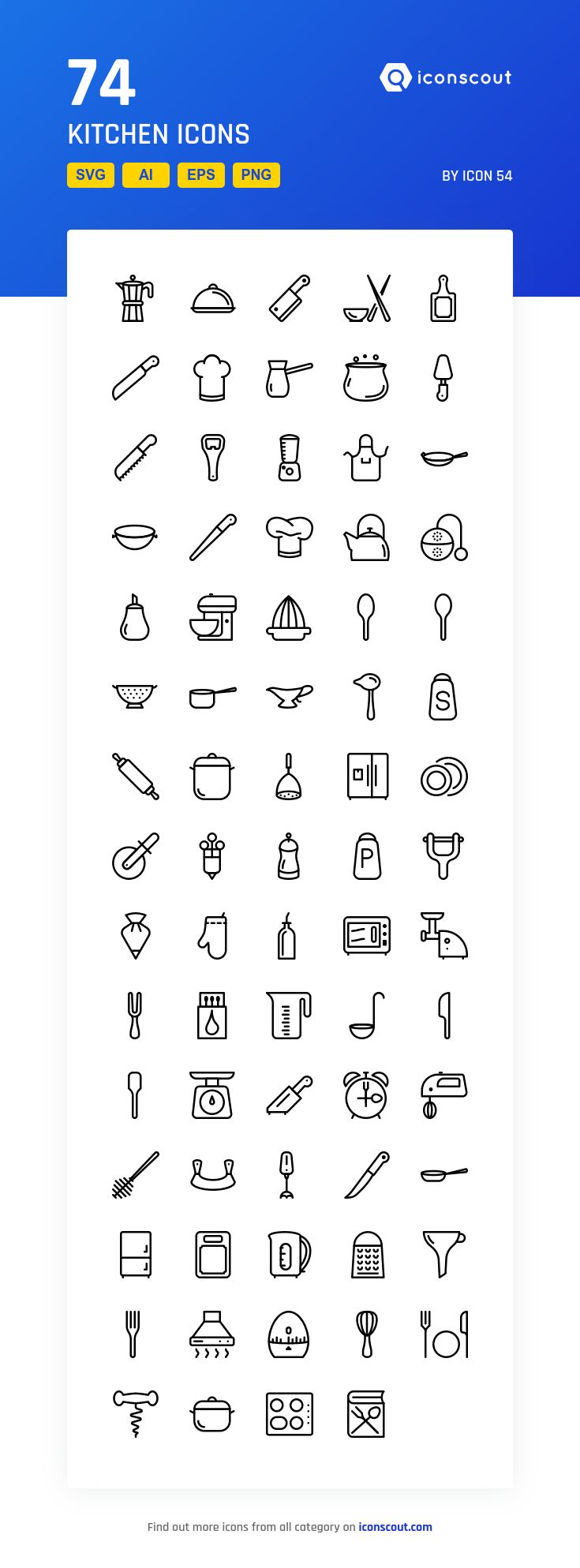 Kitchen  Icon Pack - 74 Line Icons