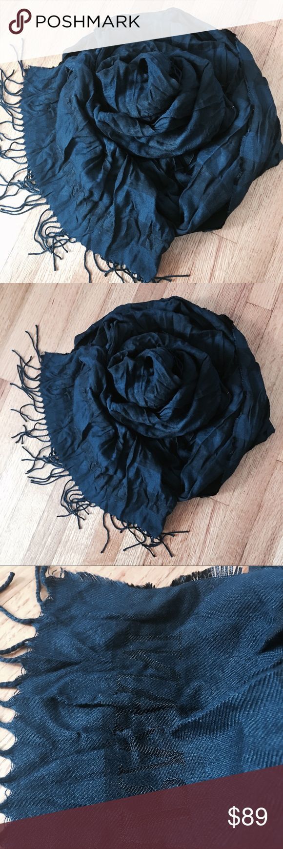 """EMPORIO ARMANI Black & Navy Crinkle Shawl BEAUTIFUL and Authentic crinkle wrap/shawl from Emporio Armani. Navy blue and black striped pattern with designer name within design at each end. Nice large size at 28-32"""" wide and 75 inches long. 28"""" wide with crinkles and approx 32"""" wide stretched flat. Fabric content is 46% polyester, 30% viscose and 24% acetate. No signs of wear. No runs or tears. MADE IN ITALY. Emporio Armani Accessories Scarves & Wraps"""