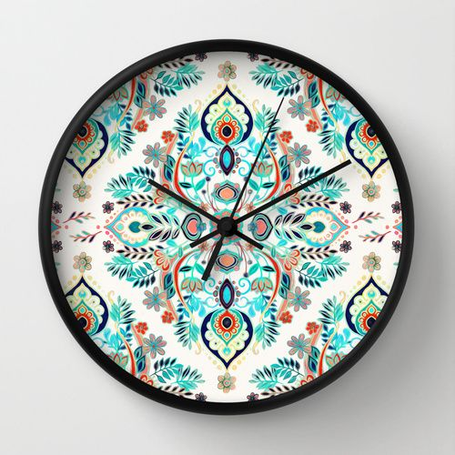 Modern Folk in Jewel Colors Wall Clock