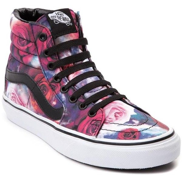 Vans Sk8 Hi Galaxy Rose Skate Shoe ($99) ❤ liked on Polyvore featuring shoes, sneakers, floral high top sneakers, leather shoes, sport shoes, leather hi top sneakers and high top shoes