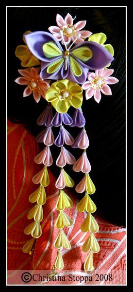Spring Butterfly Kanzashi by ~Kurokami-Kanzashi on deviantART