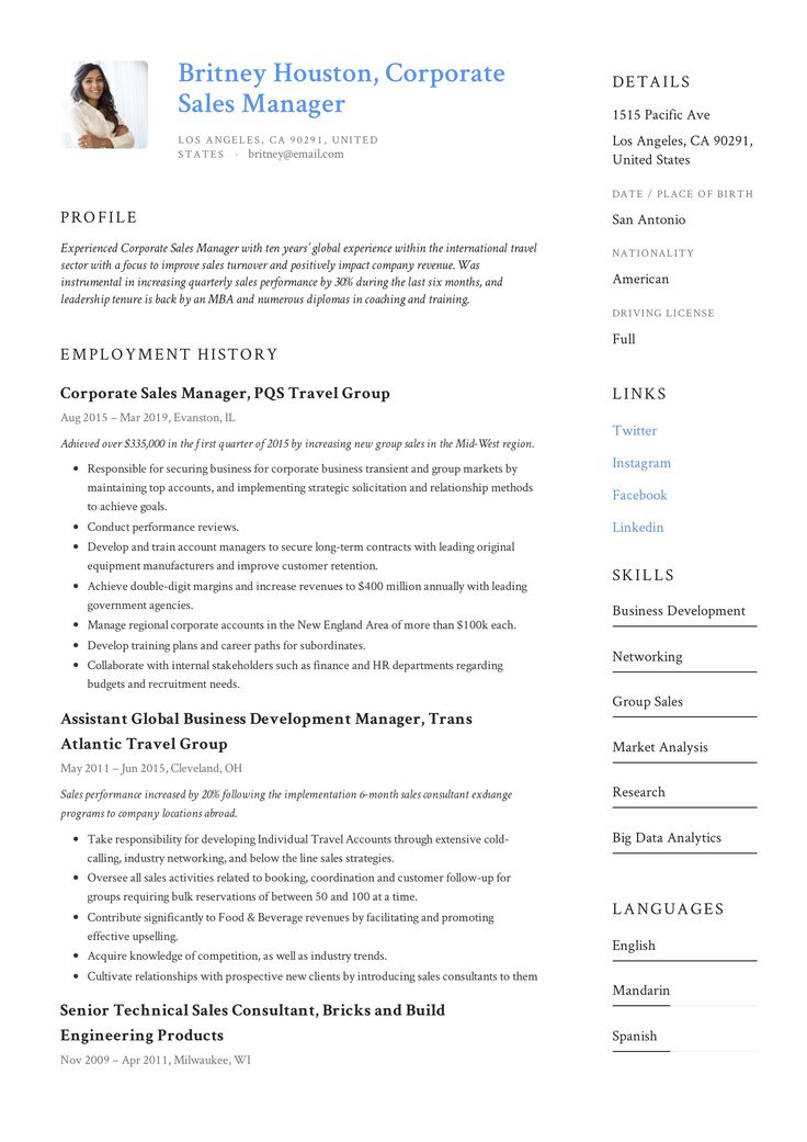 Corporate Sales Manager Resume Example in 2020 Resume