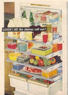 fridge with pull-out shelves AND Pyrex everywhere...I want the fridge and the storage containers!