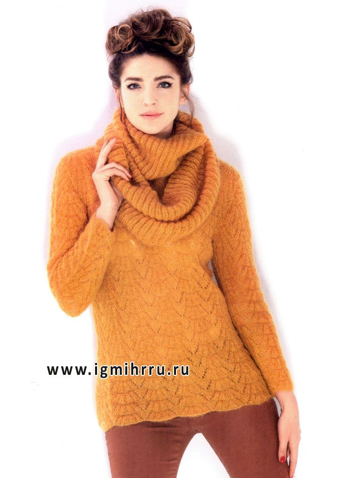 Прекрасный выбор для осени! Теплый и уютный пуловер и шарф-хомут, от французских модельеров. Спицы