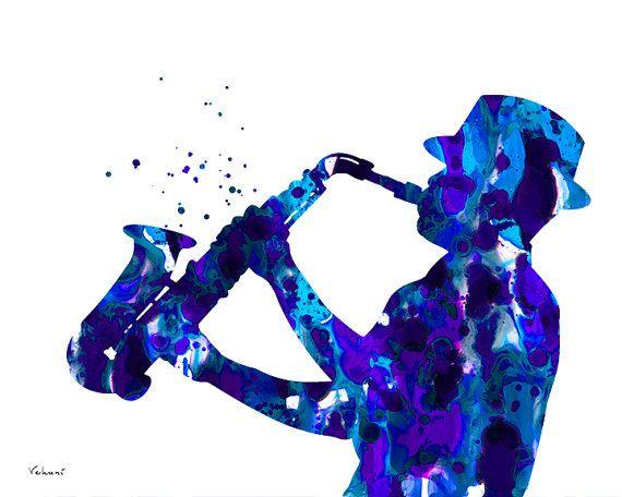 Jazzman art saxophone player art print jazz by FluidDiamondArt