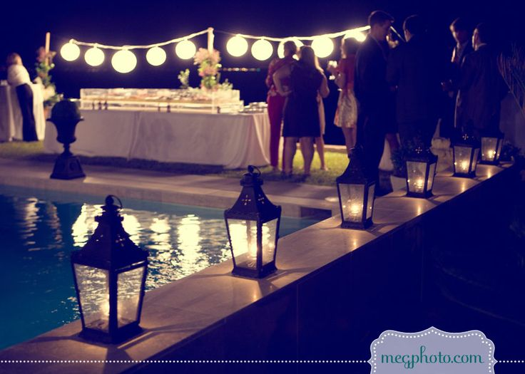 #wedding reception #backyard lighting #pool #party # outdoor lighting