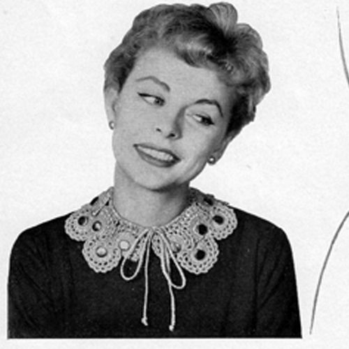 This Vintage Crocheted Scroll Collar Pattern, with String Ties, has a matching belt as well.      This pattern is available at Vintage Knit Crochet Pattern Shop