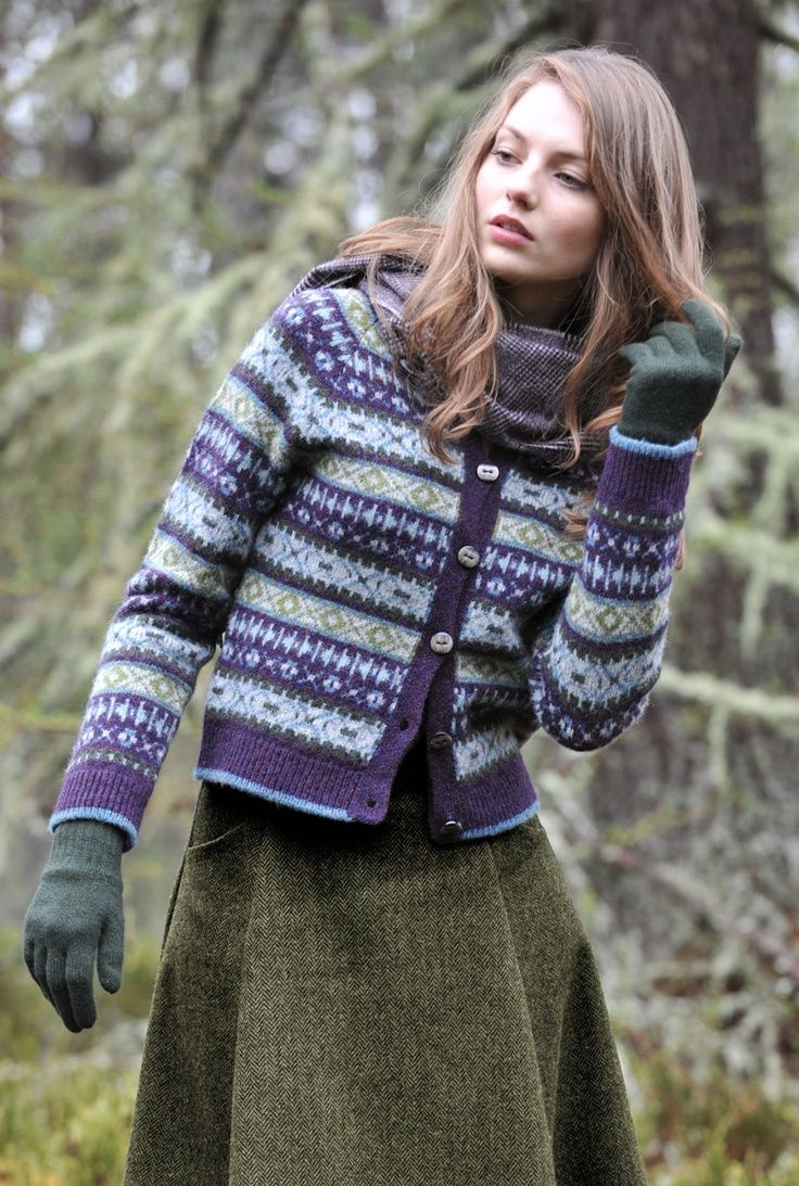 Shetland Fair Isle Cardigan in blueberry colourway by Brora.