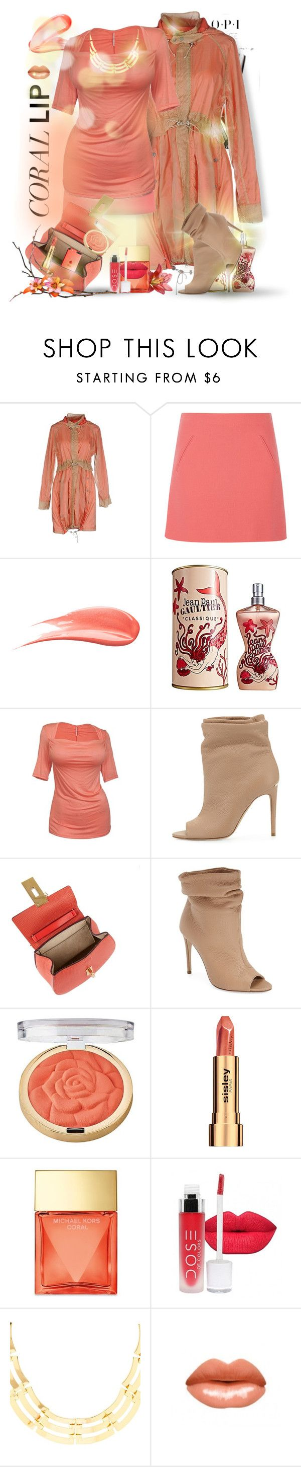 Spring Beauty: Corals by falticska-cerasella on Polyvore featuring bellezza, NARS Cosmetics, Sisley, Hourglass Cosmetics, Milani, Jean-Paul Gaultier, Michael Kors, Charlotte Russe, Chloé and Hoss Intropia