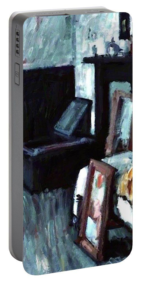 Studio Portable Battery Charger featuring the painting Studio Interior by Peploe Samuel