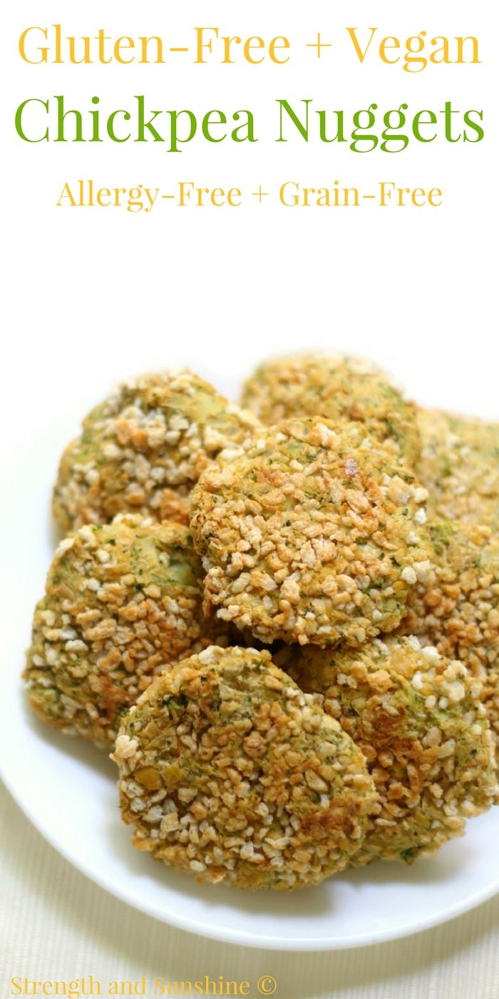 Gluten-Free + Vegan Chickpea Nuggets (Allergy-Free, Grain-Free) | Strength and Sunshine @RebeccaGF666 An easy and healthy meatless nugget that the kids will love! Gluten-free & Vegan Chickpea Nuggets that are top 8 allergy-free, grain-free, and have a secret dose of veggies too! A deliciously fun plant-based recipe for little hands at lunchtime or dinner! #glutenfree #vegan #chickpeas
