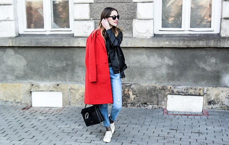 jeans, boyfriend, red coat, bag, leather, fishnet, style, street style, street fashion, ootd, look, style, inspiration, bloger, fashionist, stylist,