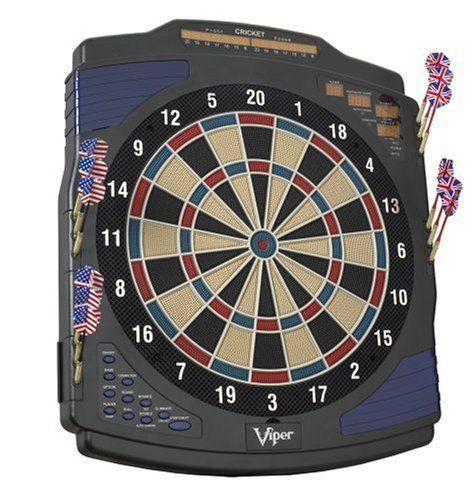 Viper Eclipse Electronic Dartboard by Viper. $134.99. Amazon.com                This stylish and well-constructed electronic dartboard is a great choice for your downstairs rec room or upstairs den. The board boasts a total of 25 different games--enough for all but the most demanding darts player--with a pair of 0.5-by-4-inch LED cricket displays keeping track of up to eight players at once. The regulation 15.5-inch target face, meanwhile, is outfitted with a tourna...