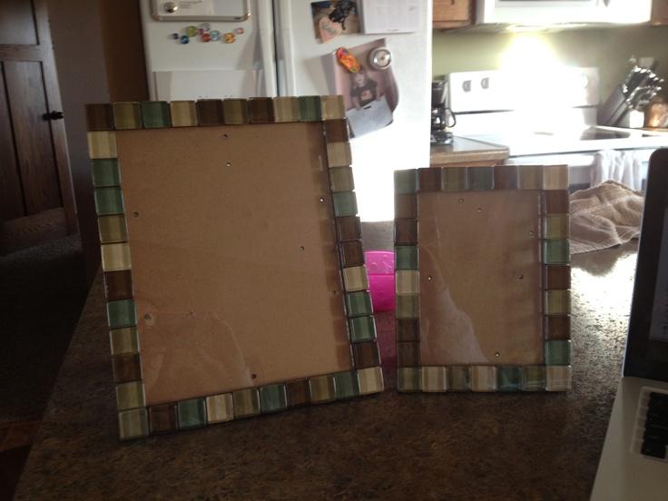 Glass Tile Frames using leftover tile.