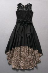Vintage Jewel Neck Sleeveless Lace Splicing Leopard Asymmetric Dress For Women