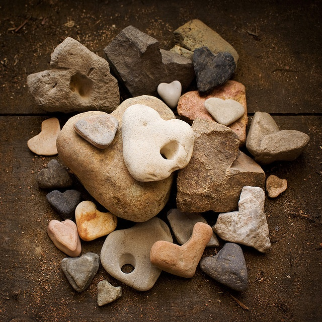 stones and pebbles resembling hearts/ I have never seen one / hope I find one