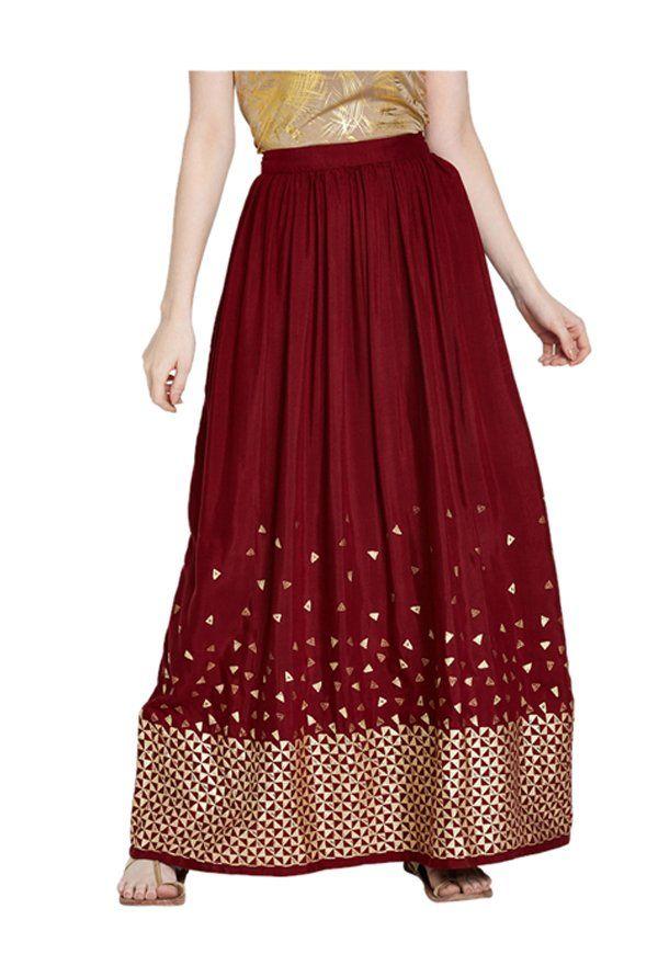 fa49c212be Global Desi Maroon Printed Maxi Skirt -   1399.30   Shorts & Skirt ...