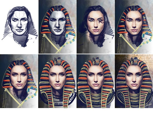Digital painting process. Egyptian Angelina #WacomWorkflow #WacomCintiq #digitalpainting #stages #Angelina #pharaoh