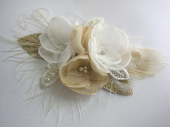 Rustic Hair Accessories  Rustic Wedding Hair Piece  by FloroMondo