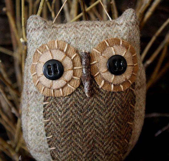 Primitive Owl Folk Art Ornie EPattern by rockriverstitches on Etsy