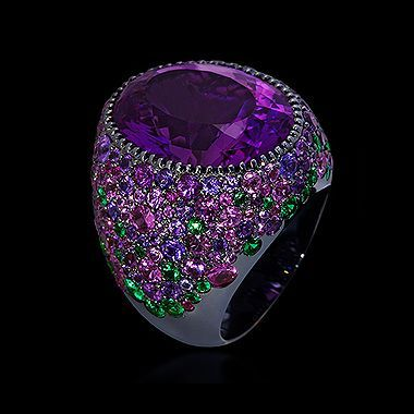 Collection Riviera ring, Black gold 750 Amethyst 17.58 ct Tsavorites Multicolored sapphires