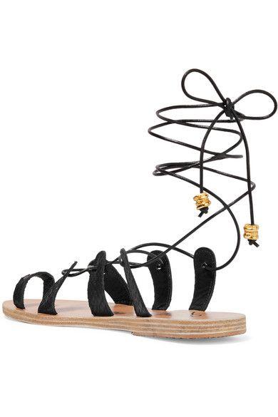Ancient Greek Sandals - Ilias Lalaounis Alcyone Lace-up Leather-trimmed Snake Sandals - Black - IT42