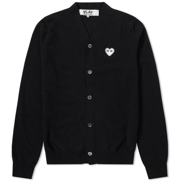 Comme des Garcons Play Silver Heart Cardigan (Black) | END. ($250) ❤ liked on Polyvore featuring tops, cardigans, play comme des garçons, play comme des garcons cardigan, silver cardigan, cardigan top and silver top